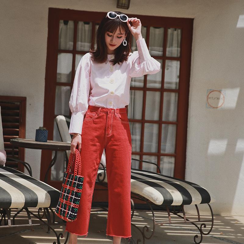 红色牛仔裤 JUPITER陈小颖法式新优雅八分裤长百搭显瘦高腰chic红色牛仔裤女_推荐淘宝好看的红色牛仔裤