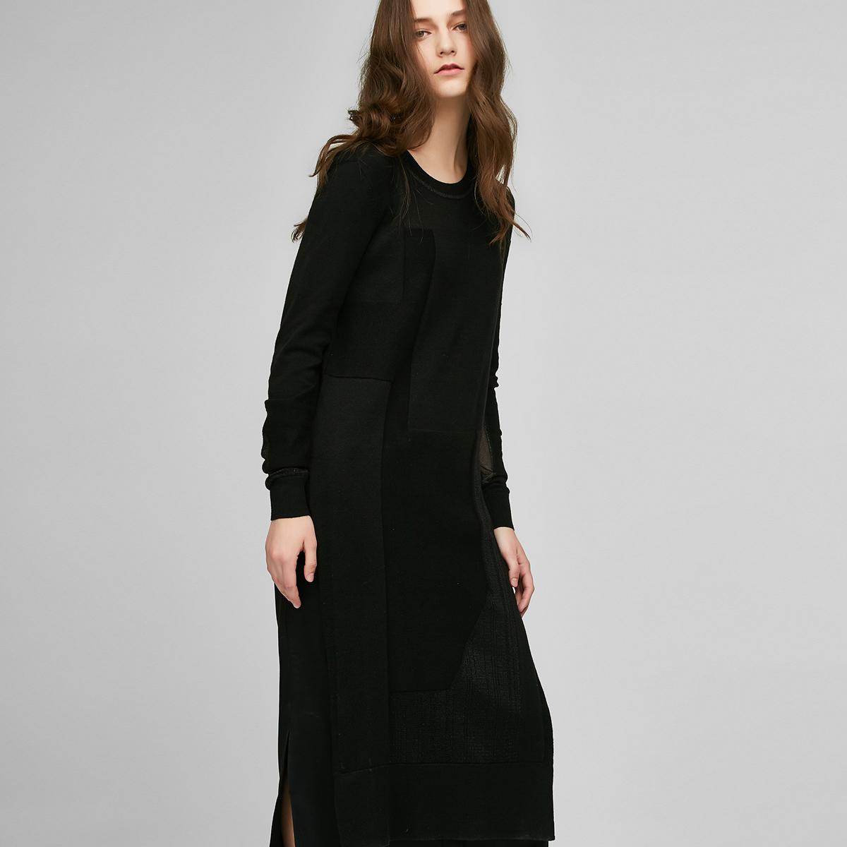 黑色针织衫 SELECTED思莱德前长后短拼接针织衫女G-417124514_推荐淘宝好看的黑色针织衫