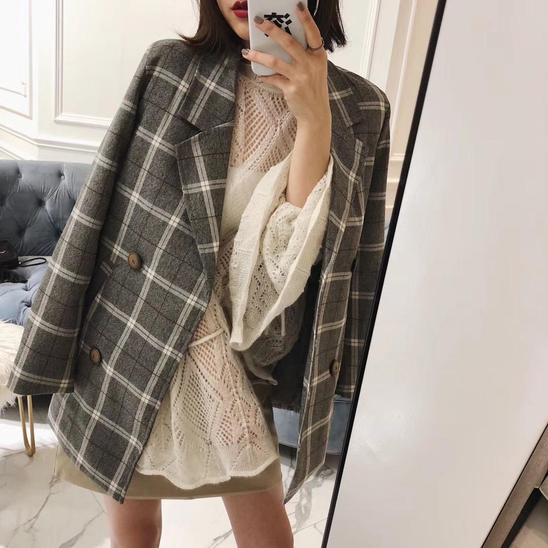 女士小西服外套 NORA 小西装女 2018春季新款时髦双排扣格纹休闲百搭外套上衣女_推荐淘宝好看的女小西服外套