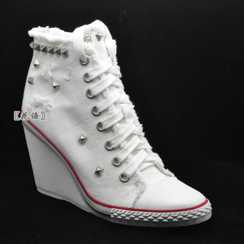 白色高帮鞋 韩版增高高帮休闲高坡运动型白色斜纹帆布大码小码手工女鞋_推荐淘宝好看的白色高帮鞋