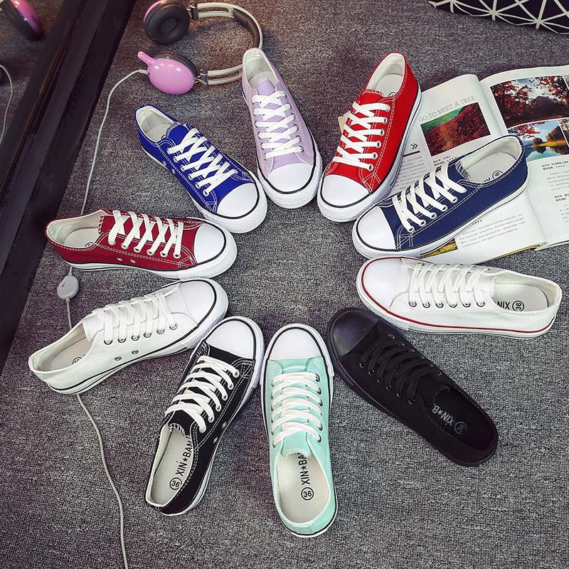 白色帆布鞋 2017经典款黑白色帆布鞋女学生韩版潮平底低帮百搭学院板鞋休闲鞋_推荐淘宝好看的白色帆布鞋