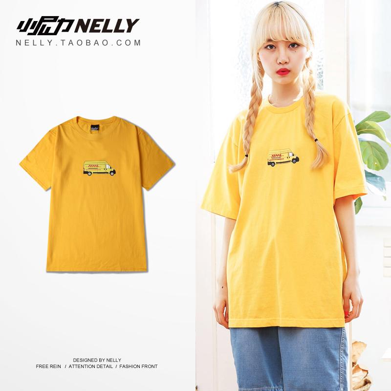 白色T恤 韩国ulzzang夏季潮牌BF同款短袖T恤情侣装男士五分袖T恤上衣黄色_推荐淘宝好看的白色T恤