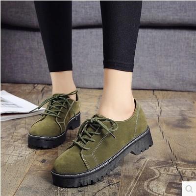 绿色帆布鞋 系带车缝线磨砂休闲鞋女坡跟防滑时尚潮鞋反绒面帆布鞋女绿色棕色_推荐淘宝好看的绿色帆布鞋
