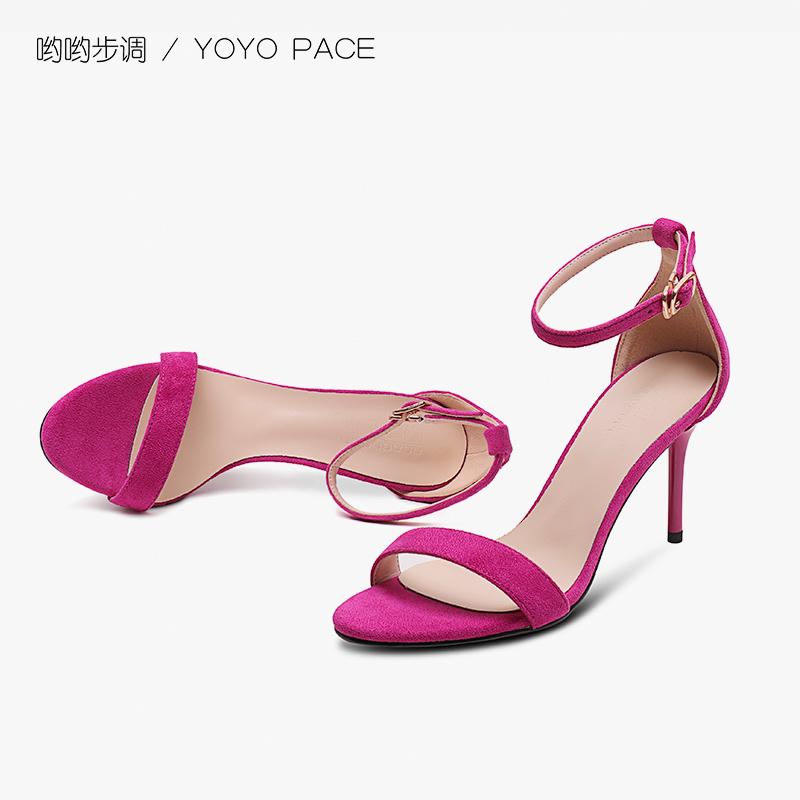 最新款高跟凉鞋 夏季幂幂新款高跟鞋玫红色性感细跟一字扣带32码露趾33小码女凉鞋_推荐淘宝好看的女新款高跟凉鞋