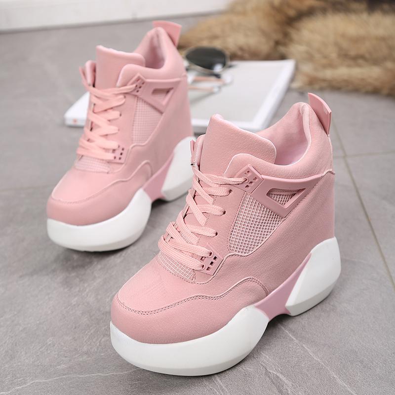 粉红色松糕鞋 韩国新款松糕女粉红色甜美休闲单鞋百搭厚底内增高超高跟12cm女鞋_推荐淘宝好看的粉红色松糕鞋