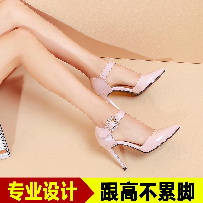 粉红色高跟鞋 春季尖头中空女鞋单根粉红色有带瓢鞋细单跟高跟单鞋春夏大人皮鞋_推荐淘宝好看的粉红色高跟鞋