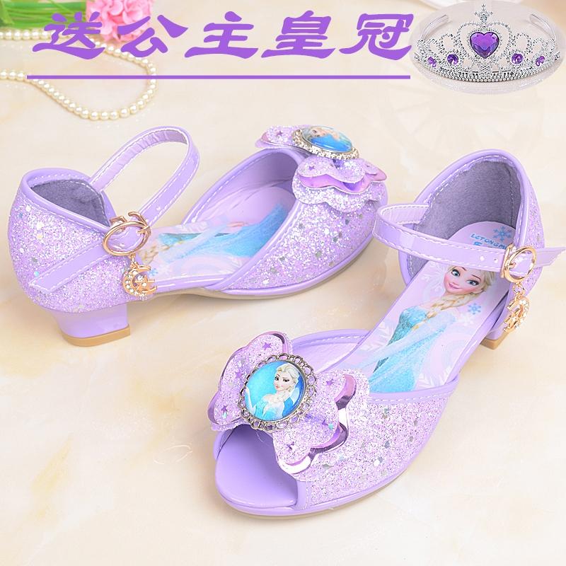 紫色鱼嘴鞋 女童高跟凉鞋2018新款 韩版 夏季小公主 鱼嘴 凉鞋紫色学生舞蹈鞋_推荐淘宝好看的紫色鱼嘴鞋