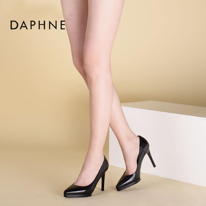 尖头性感高跟鞋 Daphne达芙妮新款性感蛇纹单鞋尖头浅口高跟鞋女1016404019_推荐淘宝好看的尖头性感高跟鞋