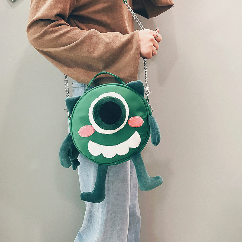 绿色链条包 ins超火包上新可爱小包包女2018新款链条斜挎包搞怪卡通小圆包女_推荐淘宝好看的绿色链条包