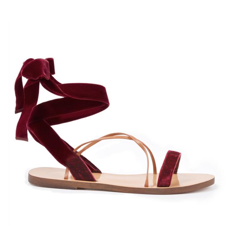红色罗马鞋 绑带凉鞋2017新款红色丝绒罗马交叉凉拖欧美平跟露趾夏季海滩女鞋_推荐淘宝好看的红色罗马鞋