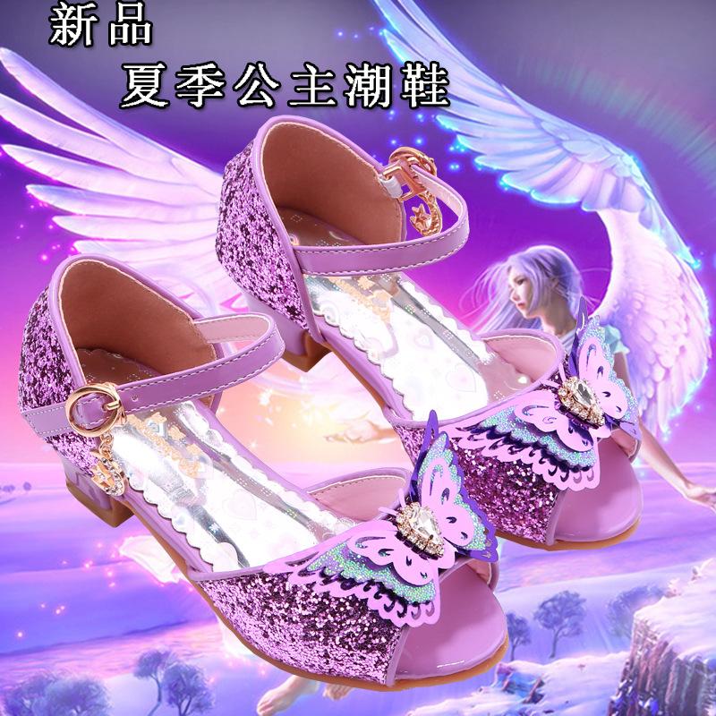 紫色鱼嘴鞋 新款紫色女童凉鞋女孩时尚礼服鱼嘴鞋蝴蝶结冰雪奇缘公主高跟凉鞋_推荐淘宝好看的紫色鱼嘴鞋