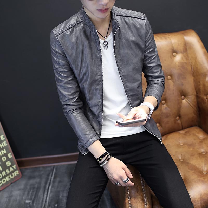 男士立领皮衣 男士立领皮衣青少年机车服皮夹克潮流修身型韩版帅气学生薄款外套_推荐淘宝好看的男立领皮衣