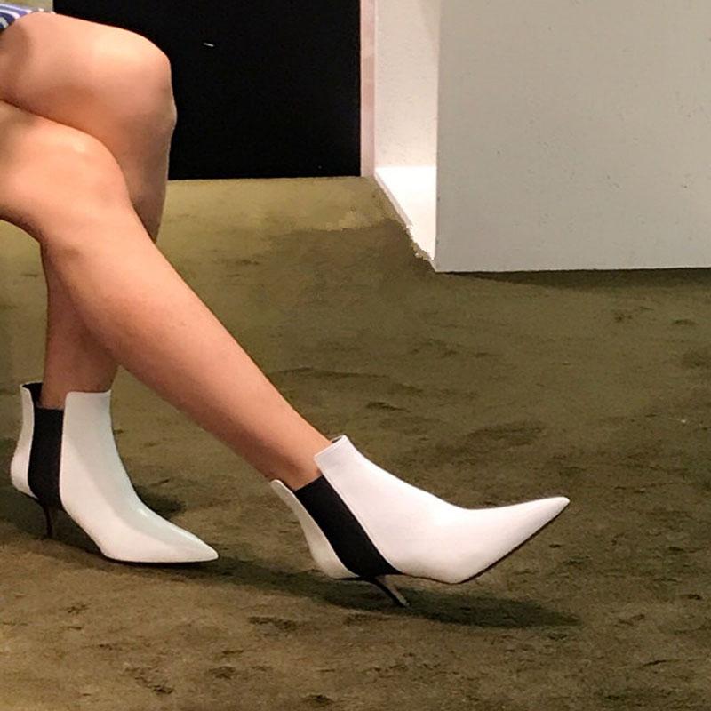 尖头短靴 欧美2017新款尖头高跟细跟短靴白色小牛皮切尔西靴裸靴真皮女靴潮_推荐淘宝好看的尖头短靴
