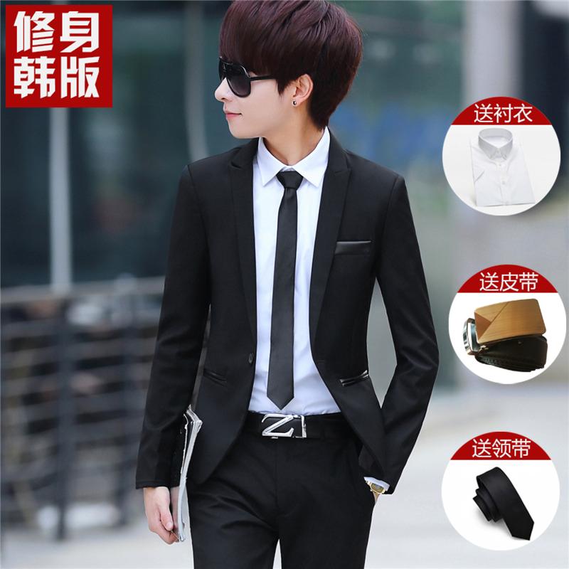 男士修身西装 西装三件套修身韩版学生小西服男正装休闲毕业礼服全套西装套装男_推荐淘宝好看的男修身西装