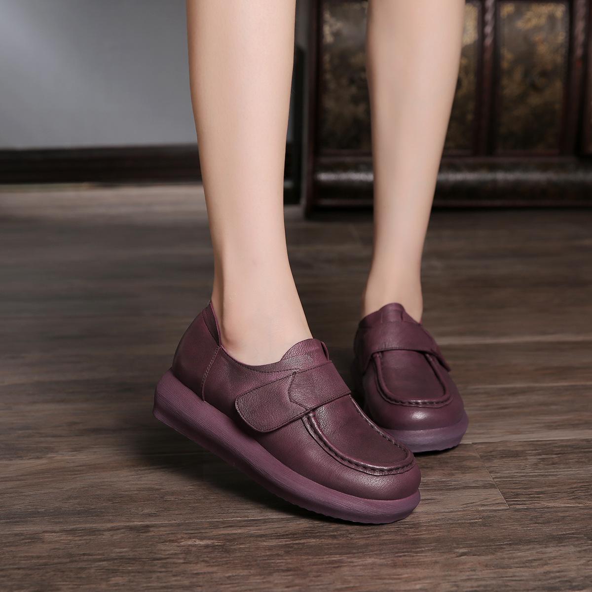 紫色厚底鞋 2017秋季新款手工真皮紫色厚底女鞋魔术贴舒适套脚圆头休闲女单鞋_推荐淘宝好看的紫色厚底鞋