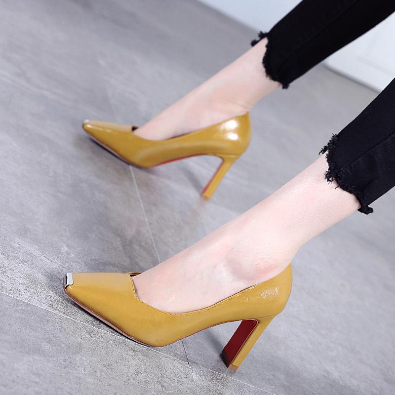 时尚高跟鞋 高跟鞋女粗跟2018新款春秋韩版时尚百搭金属方头浅口单鞋女_推荐淘宝好看的女时尚高跟鞋