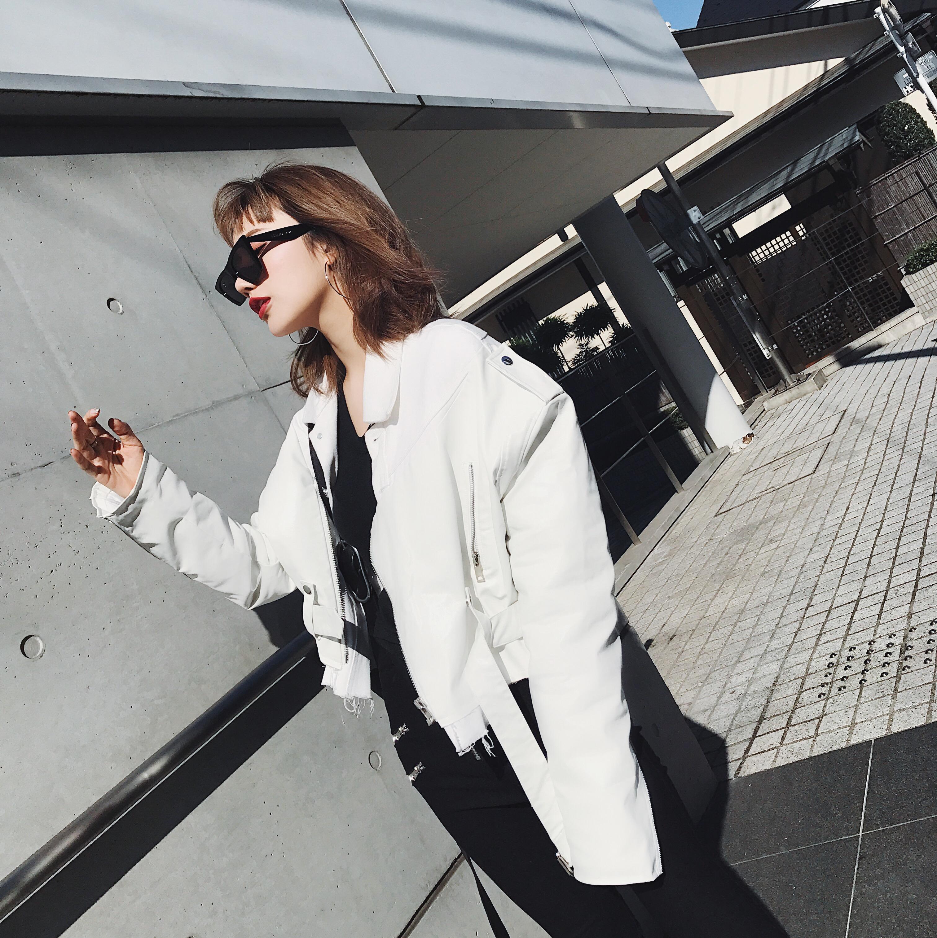白色皮衣 IAMC定制 HAND MAKE牛仔拼接廓形设计加厚夹棉皮衣_推荐淘宝好看的白色皮衣