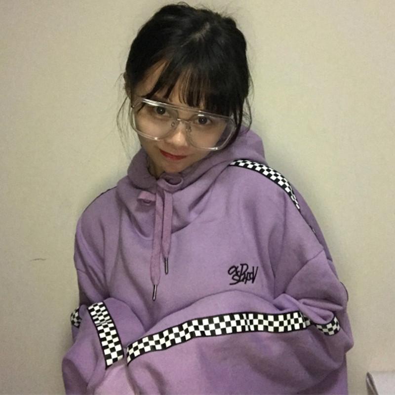 紫色卫衣 春秋新款韩版马赛克淡紫色百搭字母刺绣加绒加厚连帽卫衣男女同款_推荐淘宝好看的紫色卫衣