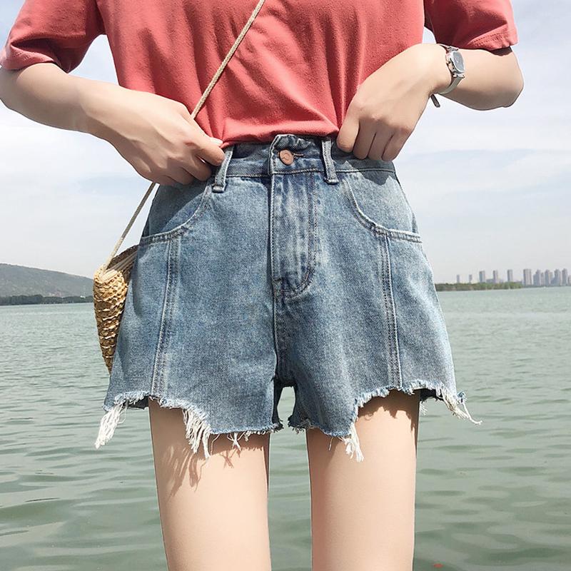 个性女装 夏装女装韩版复古个性破洞毛边高腰阔腿裤牛仔裤学生宽松显瘦短裤_推荐淘宝好看的个性女装
