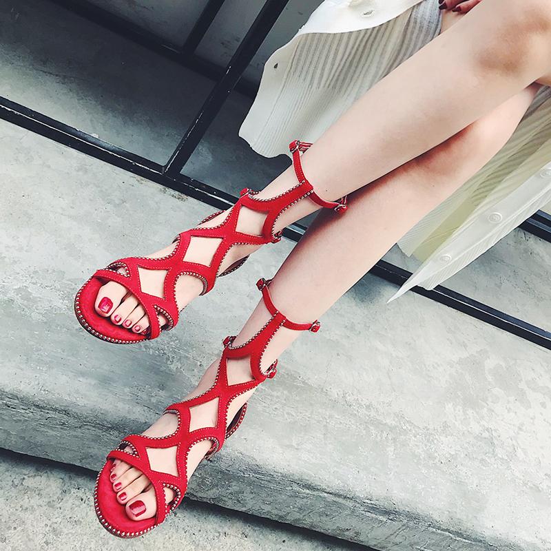 罗马鞋 恩妮特春夏新款欧美风罗马凉鞋女真皮串珠短筒露趾后拉链低跟平跟_推荐淘宝好看的女罗马鞋