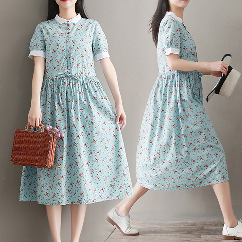 娃娃领短袖连衣裙 清新蓝色碎花连衣裙短袖女夏季拼接娃娃领系带收要宽松棉麻中长裙_推荐淘宝好看的娃娃领短袖连衣裙