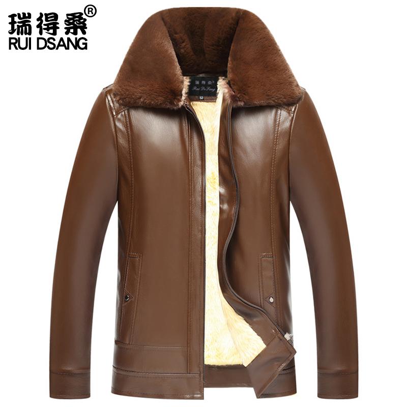 皮夹克 加绒加厚皮夹克中年男士冬装爸爸男装毛内胆保暖外套中老年皮衣男_推荐淘宝好看的男皮夹克
