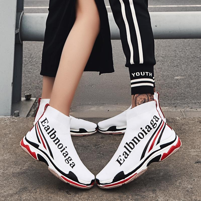 白色高帮鞋 弹力袜子鞋2018新款高帮情侣一男一女韩版百搭街拍白色休闲潮鞋男_推荐淘宝好看的白色高帮鞋