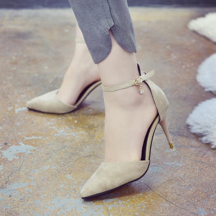 黑色高跟鞋 2018春季新款韩版中空一字扣单鞋女黑色性感细跟百搭女士高跟鞋子_推荐淘宝好看的黑色高跟鞋