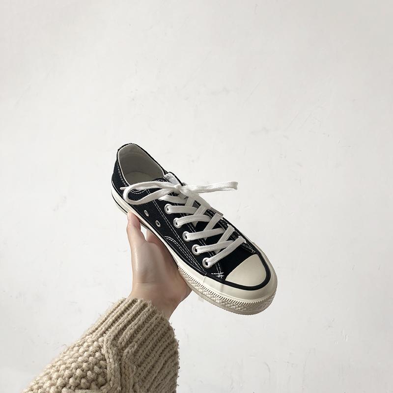 黑色帆布鞋 2018新款夏季黑色帆布鞋女学生韩版百搭布鞋子原宿风ulzzang板鞋_推荐淘宝好看的黑色帆布鞋