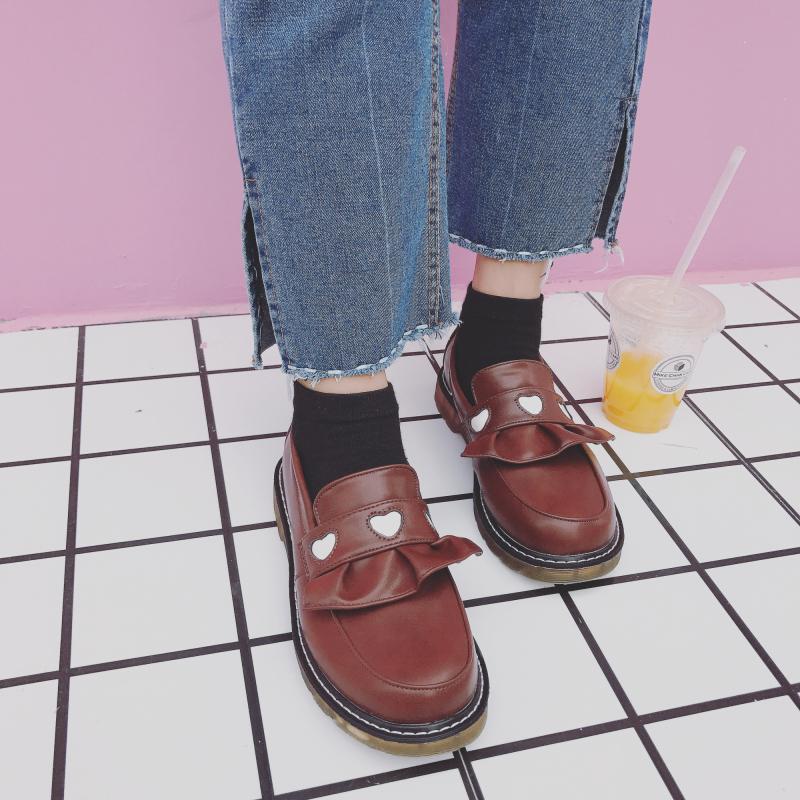 可爱厚底鞋 2018新款日系学院风厚底女鞋可爱圆头娃娃鞋爱心套脚平底小皮鞋女_推荐淘宝好看的女可爱厚底鞋