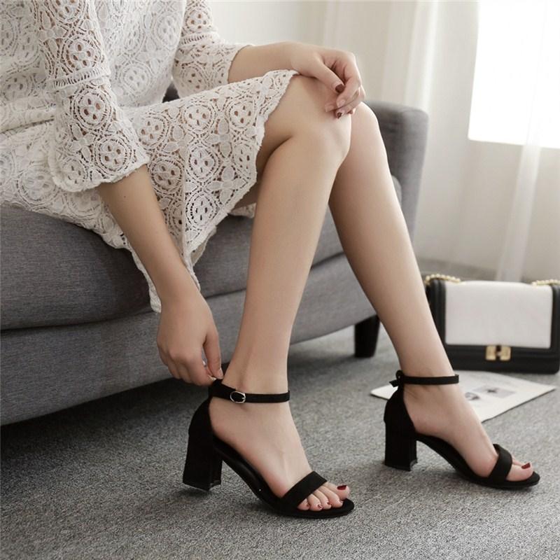 罗马鞋 新款学生一字扣粗跟高跟5厘米露趾低跟3厘米凉鞋女高跟黑色罗马鞋_推荐淘宝好看的女罗马鞋