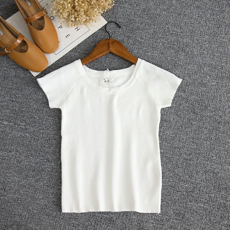 圆领短袖针织衫 EE1-3 天使店夏装新款圆领短袖上衣女修身显瘦针织衫 40615_推荐淘宝好看的女圆领短袖针织衫