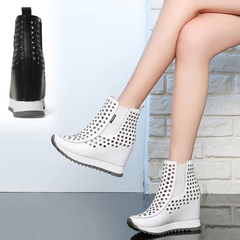 白色高帮鞋 春夏季白色高帮鞋女休闲内增高女鞋10cm百搭真皮透气镂空短靴凉靴_推荐淘宝好看的白色高帮鞋
