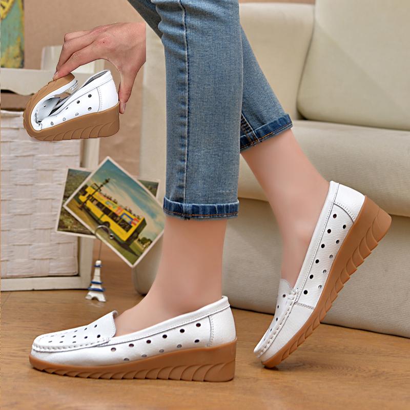 凉鞋孕妇坡跟鞋 白色护士凉鞋夏季新款坡跟牛筋底中跟妈妈鞋镂空透气防滑孕妇鞋女_推荐淘宝好看的凉鞋孕妇坡跟鞋