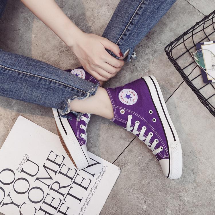紫色平底鞋 匤威帆布鞋女潮鞋ins紫色高帮原宿平底运动鞋街拍百搭学生布鞋子_推荐淘宝好看的紫色平底鞋