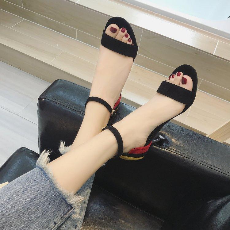 夏季高跟凉鞋 2018夏季新款性感拼色露趾凉鞋女细跟气质高跟鞋一字扣带中空女鞋_推荐淘宝好看的女夏季高跟凉鞋