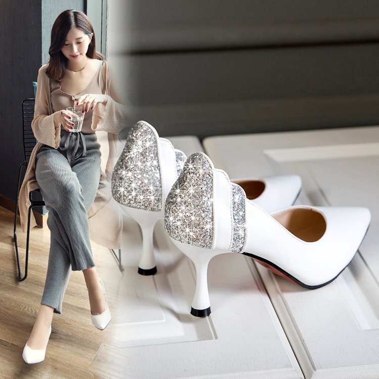 性感高跟鞋 2018秋季新款韩版性感单鞋女细跟浅口百搭尖头高跟鞋白色亮片女鞋_推荐淘宝好看的女性感高跟鞋