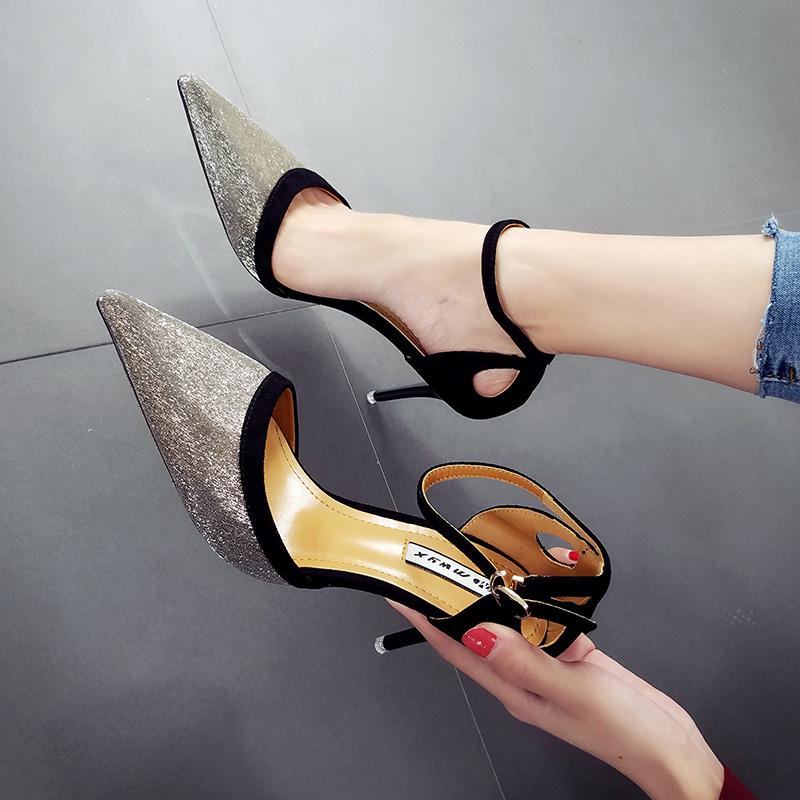 性感高跟鞋 明星款性感镂空银色宴会鞋婚鞋尖头细跟拼色公主一字扣高跟单鞋女_推荐淘宝好看的女性感高跟鞋