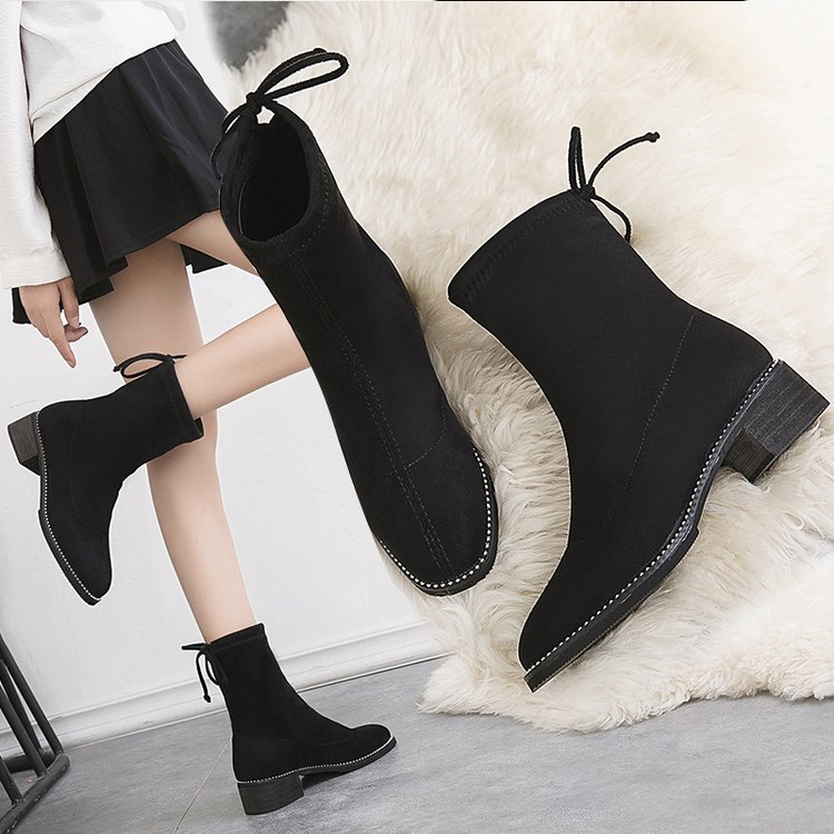 圆头短靴 秋冬新款袜子靴女鞋中筒粗跟高跟圆头百搭低跟弹力靴英伦瘦腿短靴_推荐淘宝好看的女圆头短靴