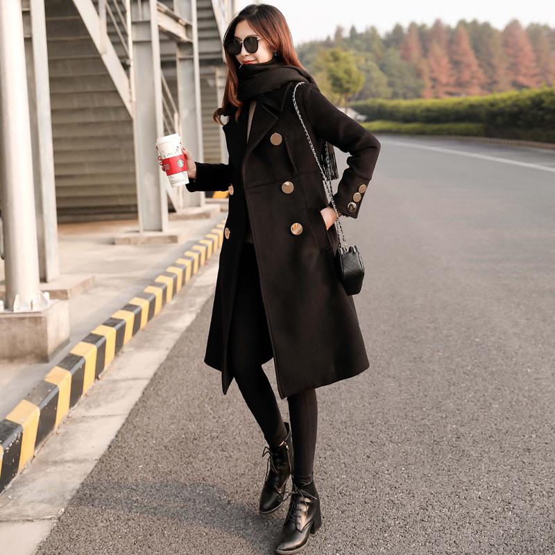 毛呢韩版外套 2018冬季新款韩版女装收腰显瘦呢子大衣女中长款气质黑色毛呢外套_推荐淘宝好看的女毛呢韩版外套