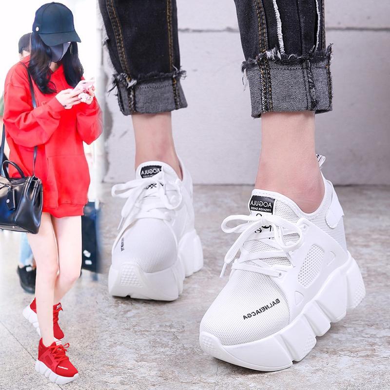 红色松糕鞋 运动鞋女厚底内增高女鞋2018夏季新款休闲松糕鞋百搭学生红色单鞋_推荐淘宝好看的红色松糕鞋