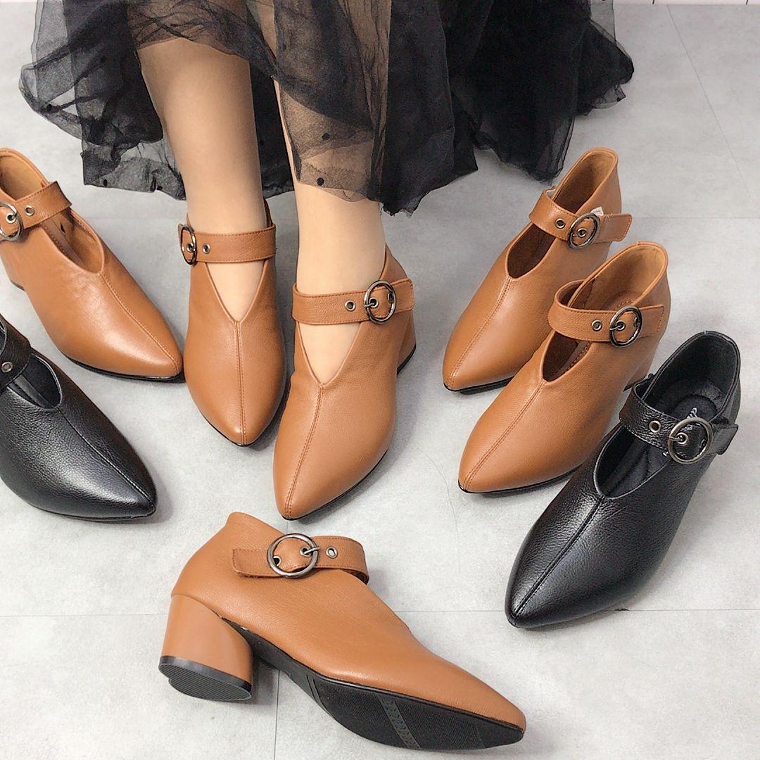 尖头鞋 真皮新款V字口尖头一字带桃心跟女士单鞋四季皮鞋百搭浅口女鞋_推荐淘宝好看的女尖头鞋