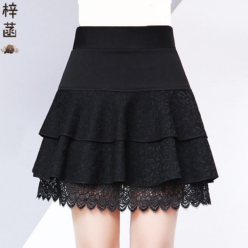 中年女半身裙 黑色蕾丝半身裙短裙中年女士双层带安全裤裙子高腰显瘦春季打底裙_推荐淘宝好看的中年半身裙