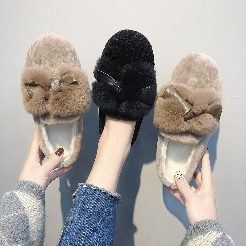 蝴蝶结豆豆鞋 毛毛鞋女冬外穿2018新款韩版学生可爱蝴蝶结豆豆鞋平底加绒棉鞋潮_推荐淘宝好看的蝴蝶结豆豆鞋