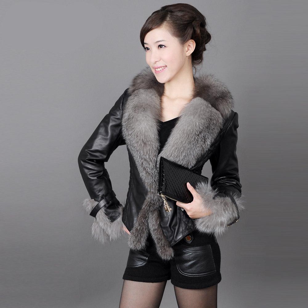 皮衣 羽绒棉服皮衣女短款小外套白色喇叭袖皮夹克仿狐狸毛大毛领大码_推荐淘宝好看的女皮衣