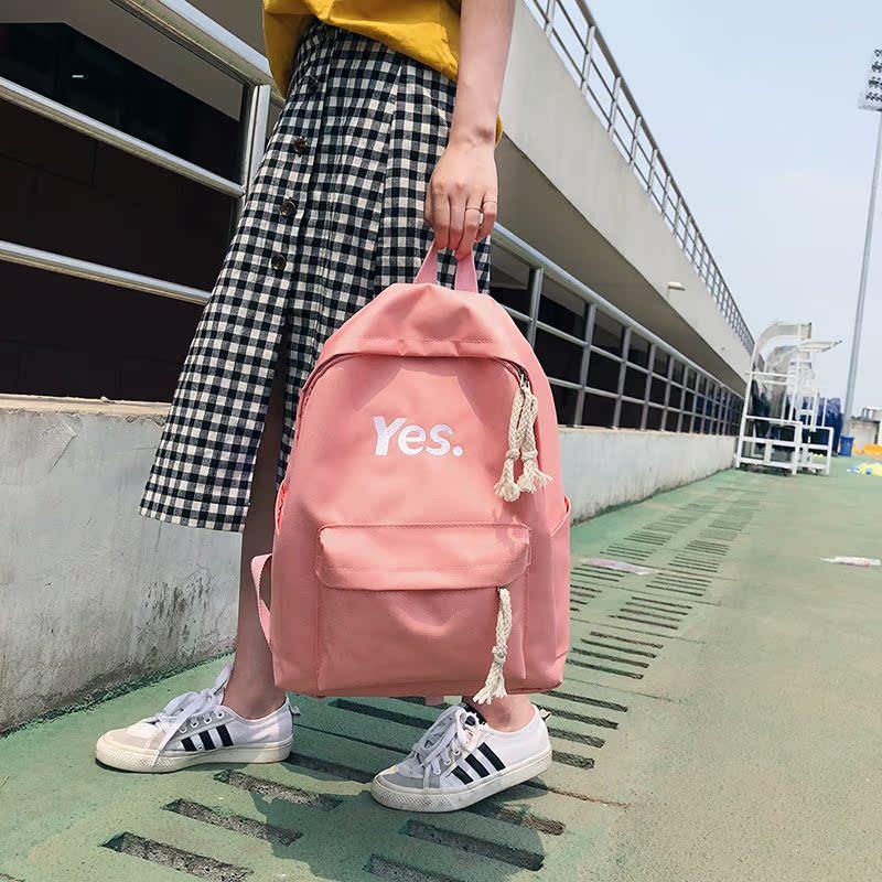 学院风双肩糖果包 2018韩国chic新款帆布糖果可爱双肩包校园学院风百搭休闲韩版背包_推荐淘宝好看的学院风双肩糖果包