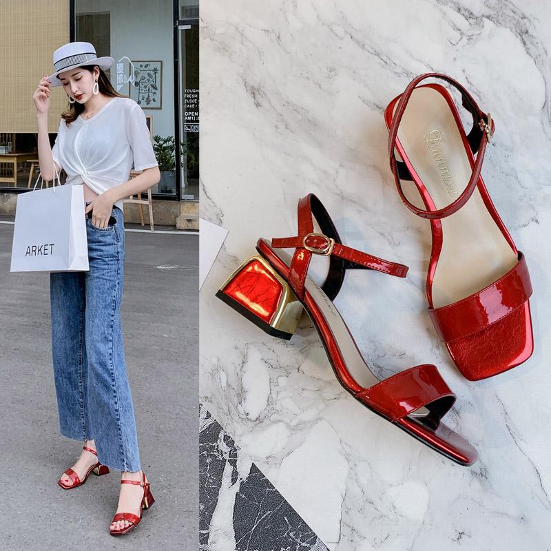 红色鱼嘴鞋 露趾高跟鞋2019夏季韩版红色新款凉鞋舒适真皮一字带粗跟中跟鞋子_推荐淘宝好看的红色鱼嘴鞋
