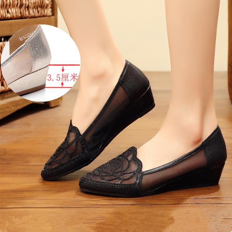 坡跟鞋 老北京布鞋新款软底防滑坡跟网面妈妈鞋时装水钻女单鞋透气女网鞋_推荐淘宝好看的女坡跟鞋