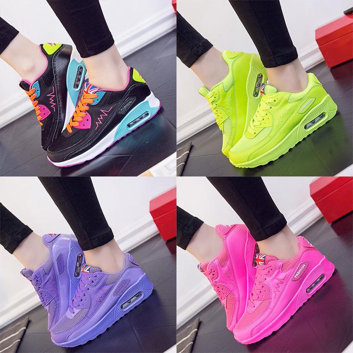 紫色运动鞋 紫色骚粉色绿荧光绿黑夏季网布高中初中学生穿少女孩女鞋子运动鞋_推荐淘宝好看的紫色运动鞋