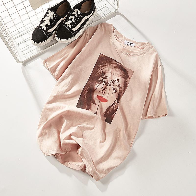 t恤 2018夏季新款印花拼接短袖宽松T恤上衣女8066_推荐淘宝好看的女t恤
